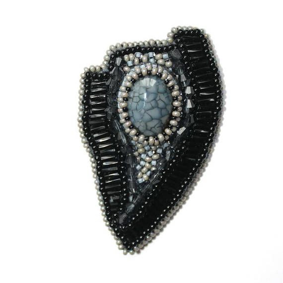 Bead embroidered brooch with agate Beaded jewelry Brooch