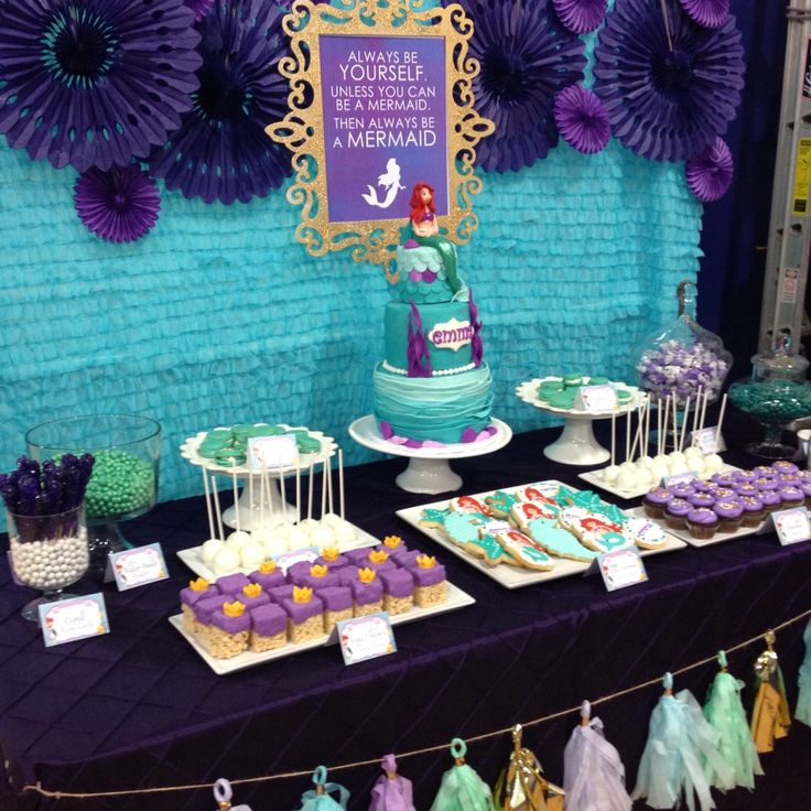 Little Mermaid Dessert Table In Teal Purple And Gold By