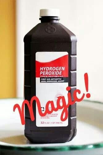 1. Add a cup of peroxide instead of bleach to a load of whites. If there are protein stains, pour it directly on the spot, let it sit for a minute, then rub it and rinse with water.  2. Use peroxide to clean mirrors. No smearing. 3. Use 3% for removing blood stains – especially if fresh. Pour directly on the spot, let sit for a minute, then rub/rinse with cold water. ½ c. hydrogen peroxide + 1 t. ammonia = great stain removal combination.