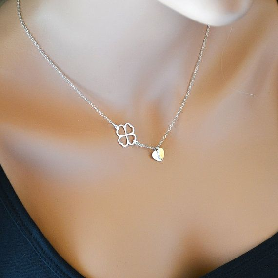 SALE 10% Clover Necklace, Four Leaf Clover Necklace with Initial Heart Charm, Sterling Silver Personalized Necklace Necklace by malizbijoux. Explore more products on http://malizbijoux.etsy.com
