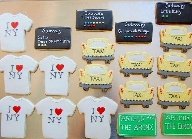 "I especially love the ""I love New York"" t-shirt cookies.  New York City party cookies!"