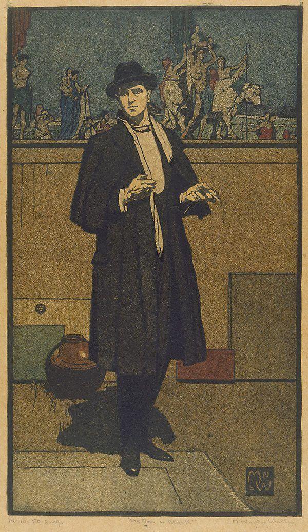 Napier Waller - The man in black (linocut)