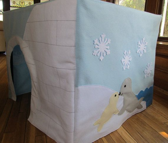 Arctic Animal Igloo Card Table Playhouse Tent, Fort, Winter Tent, Table Tent, Custom Order