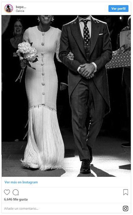 paloma, la novia que fusionó flecos y 'tweed' en un mismo vestido