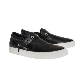 Lenny black with white outsole and black strap with ring studs