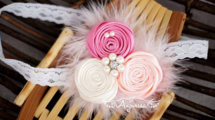 Baby headband rosette satin ribbon rosebud