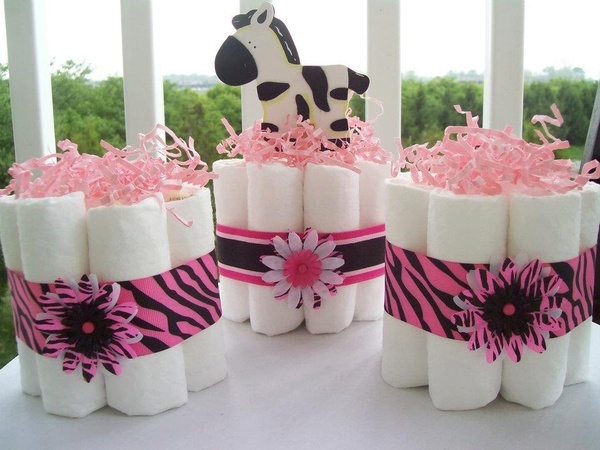 Cute idea for a lot of tables...Girls Diaper Cake Zebra (((Set of 3))) Baby Shower Center Pieces Mini Diaper Cakes. $20.00, via Etsy. Abby this is for you! #food
