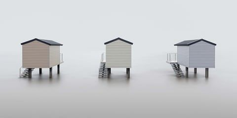 Neil Burnell: Stilts  Osea Leisure Park, Blackwater, Essex, England These beach huts in Osea Leisure Park on the Blackwater Estuary are a minimalist landscape photographer's dream. The stylish huts on stilts are finished in soft pastel colours and are perfect for a clean, long exposure. I photographed these huts on a cold January morning;