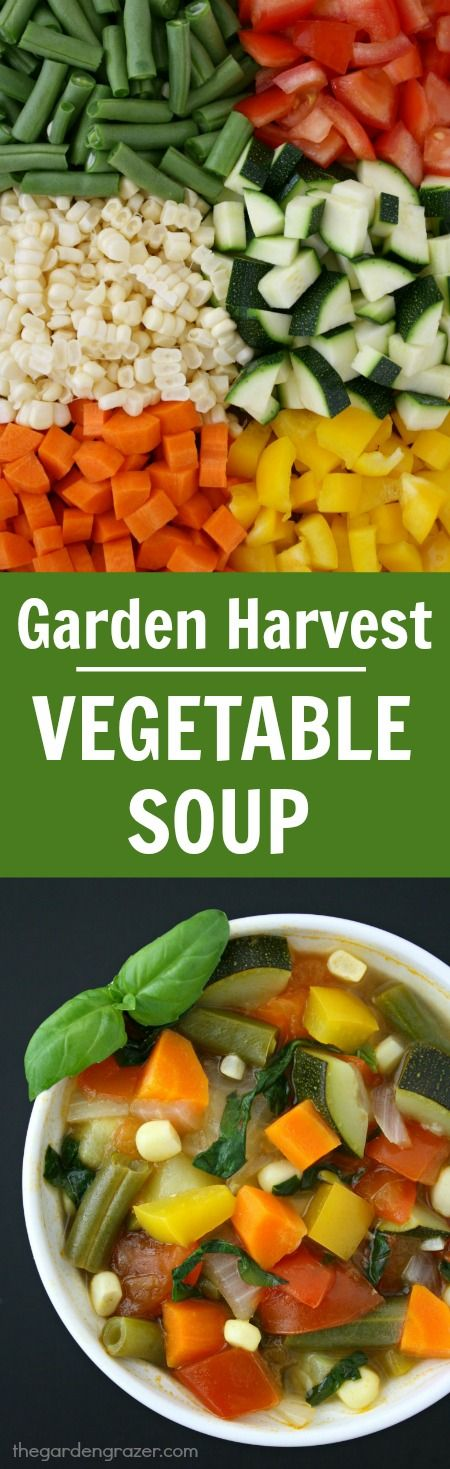10-ingredient Garden Harvest Veggie Soup with pretty basil ribbons! So FRESH and a great way to use all that summer produce!! (vegan, gluten-free)