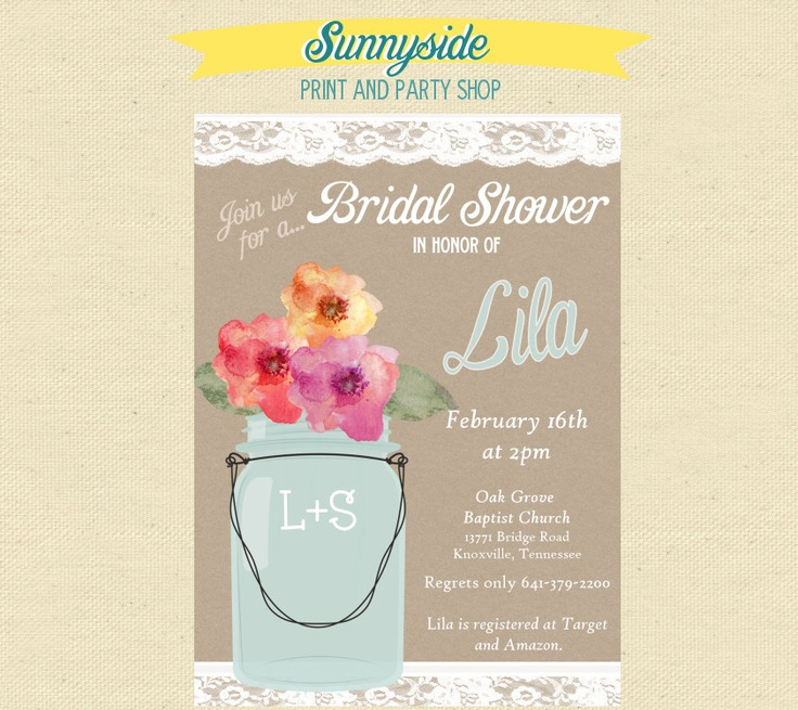 recipe themed bridal shower invitation wording%0A Lace Mason Jar Bridal Shower Party Invites
