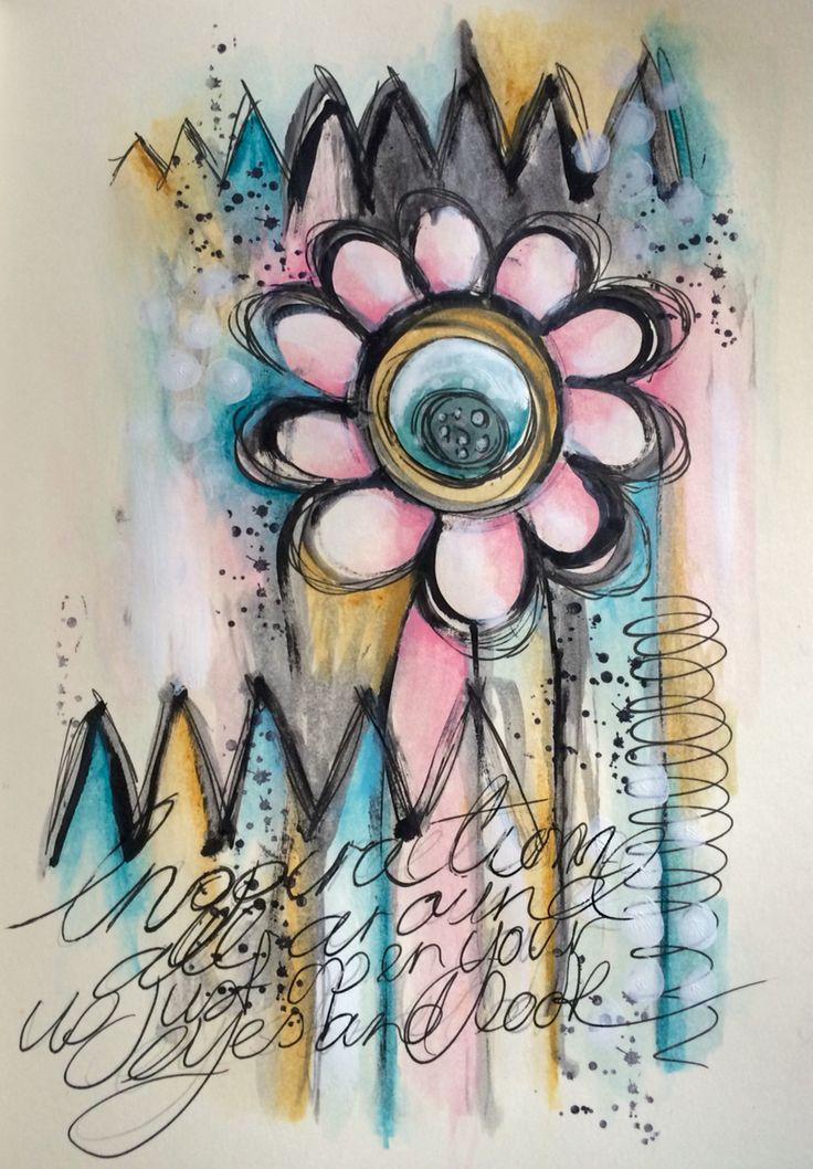 Mixed media watercolours art journal page