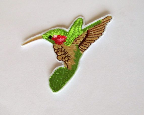 Green humming bird patch iron or sew on.