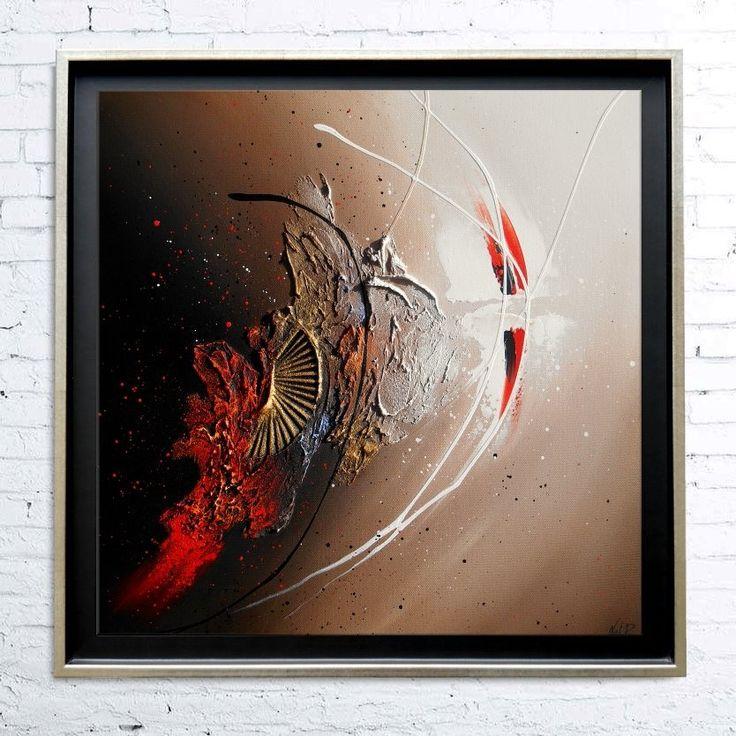 Tableau abstrait contemporain toile encadré caisse américaine peinture en relief noir taupe marron rouge blanc doré : Peintures par tableaux-abstraits-nathalie-robert