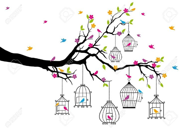 Tree Branch With Birds And Birdcages Royalty Free Cliparts ...