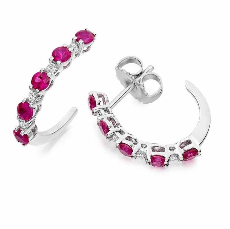 Ruby Hoop Earrings in 18K White Gold | The Diamond Channel, Johannesburg