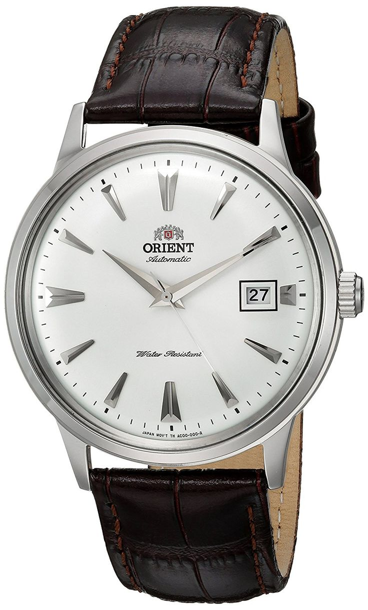 Amazon.com: Orient Men's '2nd Gen. Bambino Ver. 1' Japanese Automatic Stainless Steel and Leather Dress Watch, Color:Brown (Model: FAC00005W0): Watches