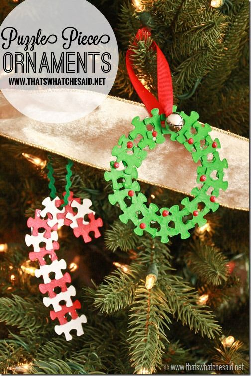 Adorable reuse of old puzzles with these DIY Puzzle Piece Christmas Ornaments! #Rudolph #ShineBright