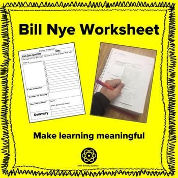 Bill Nye Worksheet by Schilly Science | Teachers Pay Teachers
