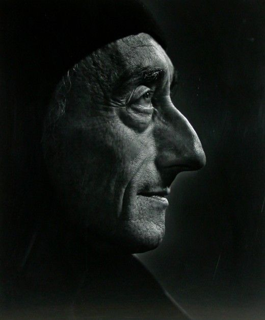 "Jacques Cousteau / Portrait by Yousuf Karsh / ""From birth, man carries the weight of gravity on his shoulders. He is bolted to earth. But man has only to sink beneath the surface and he is free."""