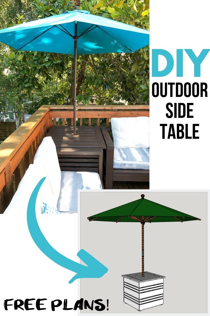 Diy Umbrella Stand Side Table With Free Plans Outdoor End Tables Outdoor Side Table Woodworking Plans