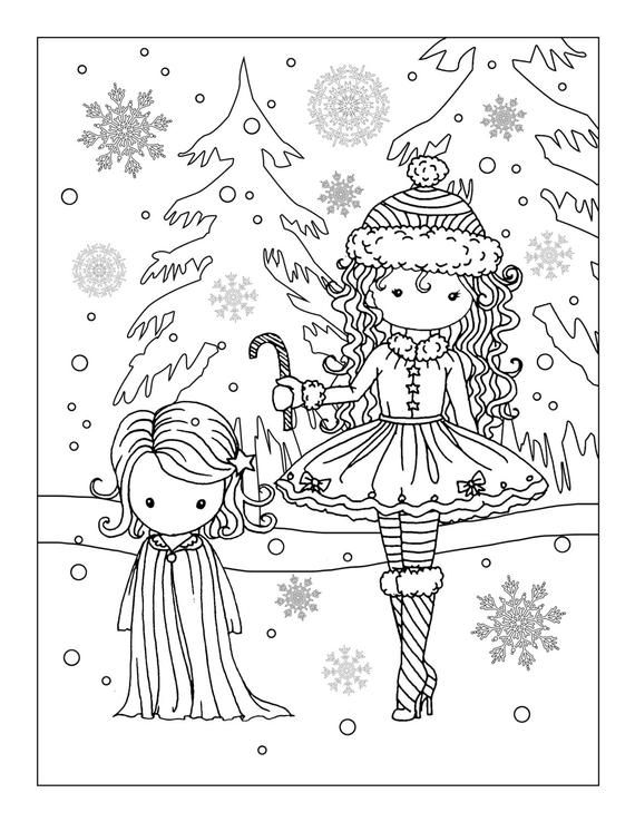 Holiday Fun Cute Little Girls In The Snow Printable Etsy Dance Coloring Pages Coloring Pages Christmas Coloring Pages