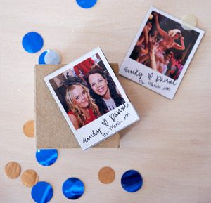 Satisfy the 'must-have-right-now' urge: get photos taken in your wedding photobooth, then have them made into magnetic pictures for guests to take home and stick on their fridge that night.