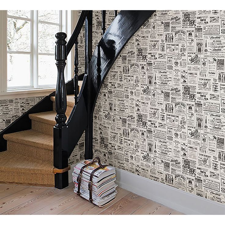 Vintage newspaper wallpaper to give a unique and rustic look to walls.                                                                                                                                                                                 More