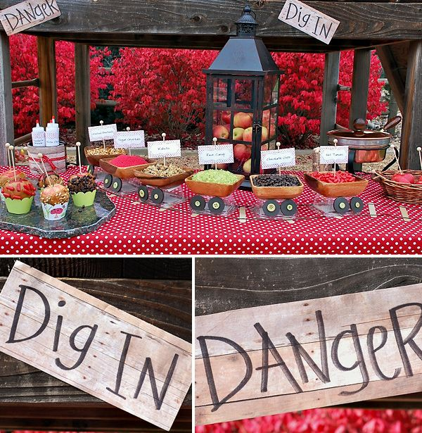 Snow White party.  I like the little mining carts.  They hold the decorations for the candy apple making station. :)