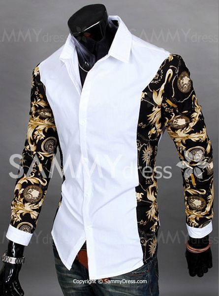 Trendy Slimming Turn-down Collar Long Sleeves Floral Print Splicing Cotton Blend Shirt For Men