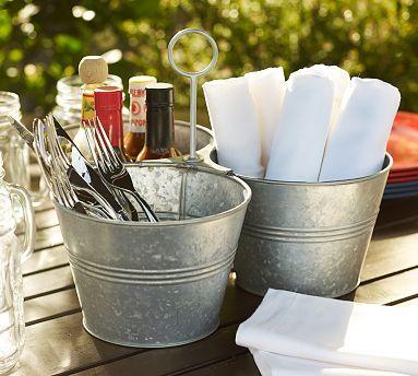galvanized metal serving bucket