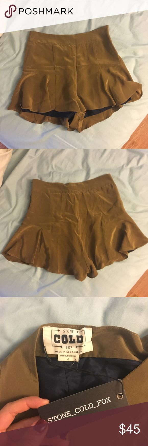 NWT Stone Cold Fox Haight flutter silk shorts 2/S 100% silk flutter shorts. Size 2 and fits Small/Medium or size 26, 27, 28 jeans! SO BEAUTIFUL and flattering, I just never got a chance to wear due to the cold weather. Color in picture is accurate, a woody olive green :) Stone Cold Fox Shorts