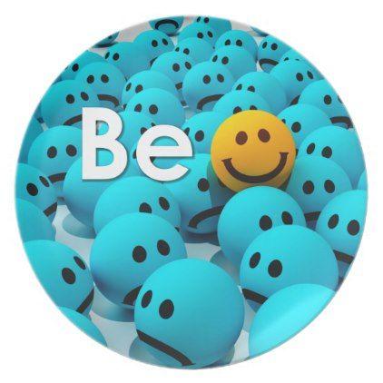 Be Happy Smiley Emoji Motivational 2 Variations Melamine Plate - decor gifts diy home & living cyo giftidea