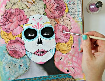 turn any magazine face into a Day of the Dead sugar skull face with paint, drawings and other magazines cut out