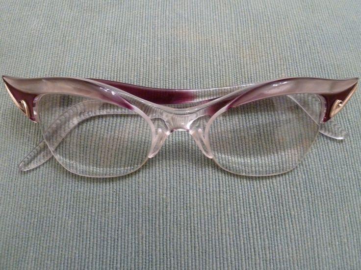 Lucite frame cateye glasses.