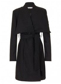 Coat with Wrap-over Collar Black
