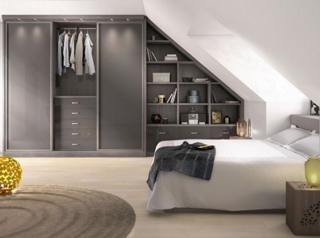 13 best chambre bas images on Pinterest Lower house, Attic spaces - porte coulissante fixation plafond