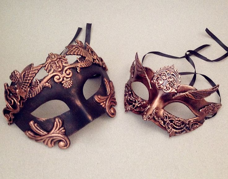 Metalic Gold Silver Rose Gold Masquerade mask for two… Makes the night just a bit more exciting.