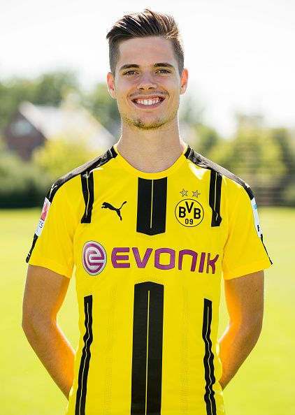 Dortmund's Julian Weigl poses during the team presentation of Borussia Dortmund on August 17 2016 in Dortmund Germany