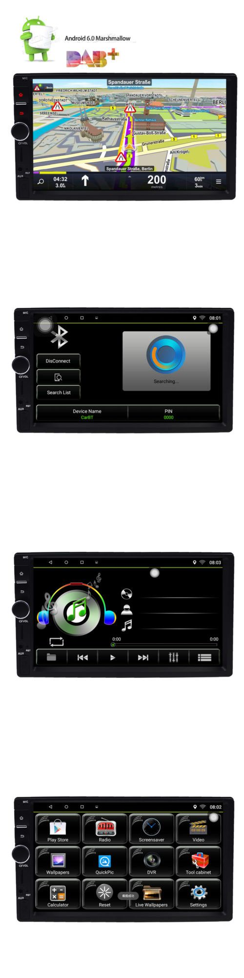 Vehicle Electronics And GPS: Android 6.0 Double Din Car Stereo Radio Gps Wifi 3G Obd2 Hd Mirror Link Bt Dab+ -> BUY IT NOW ONLY: $151.99 on eBay!
