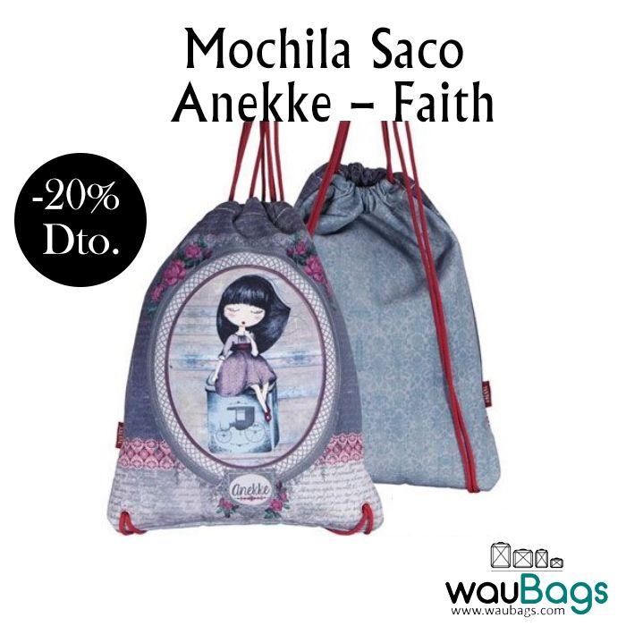 """Mochila Saco Anekke de tela de la colección """"Faith"""", con un amplio compartimento principal, un bolsillo con cremallera en su interior y tirantes al hombro para llevarla cómodamente a la espalda.  ¡¡Ahora por tan solo 12,72€!!  @waubags.com #anekke #mochila #saco #cuerdas #descuento #oferta #rebajas #waubags"""