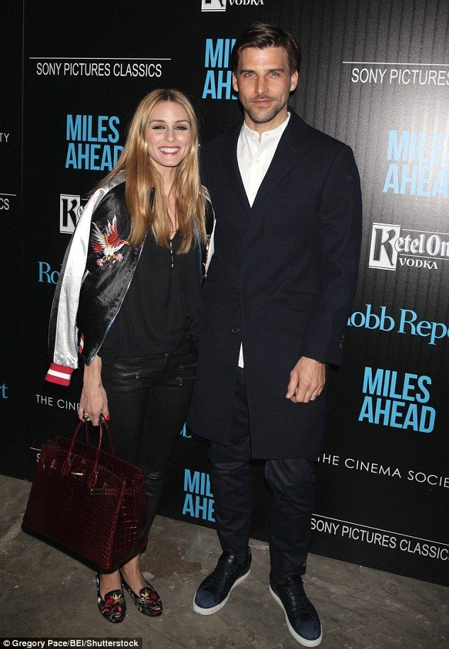 Model behaviour: Front-row fashionista Olivia Palermo and her hunky male model husband Johannes Huebl enjoyed a cute date night at the Miles Ahead screening