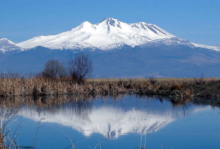 Mount Erciyes (Turkish: Erciyes Dağı) is a massive stratovolcano located 25 km to the south of Kayseri in Turkey.  Erciyes is the highest mountain in central Anatolia, located within the ancient region of Cappadocia.