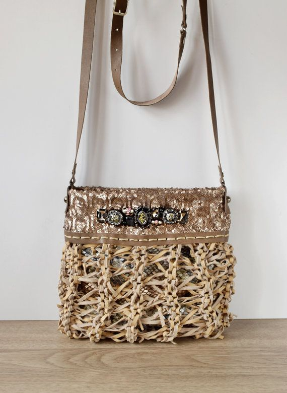Beige leather boho chic purse knitted leather by Glad2Balive
