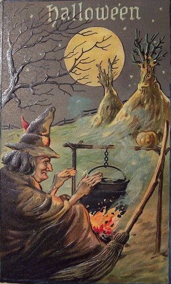 vintage halloween postcard l e - Vintage Halloween Witches