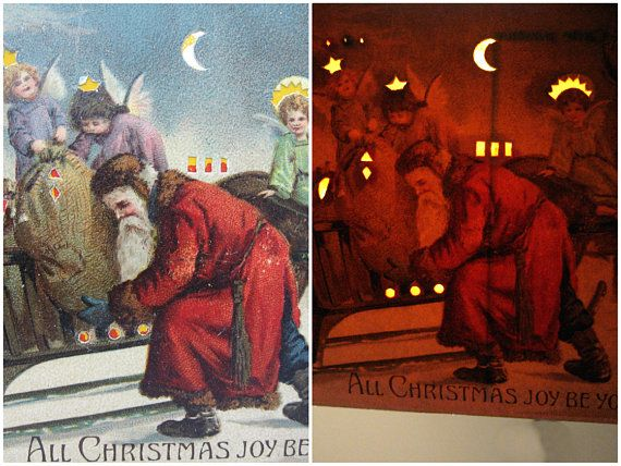 Fantastic, rare antique Christmas postcard is the type known