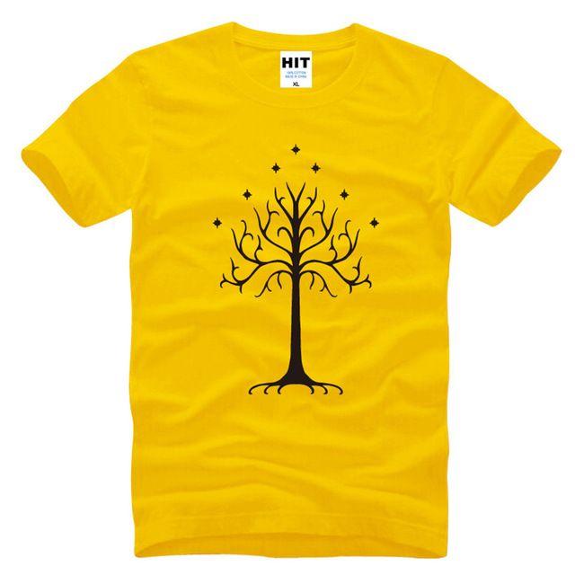 Geweldige Film Lord van de Ringen T-shirts Mannen/Vrouwen Boom van Gondor T-shirts Korte Mouwen O-hals Katoen Fashion T-shirts