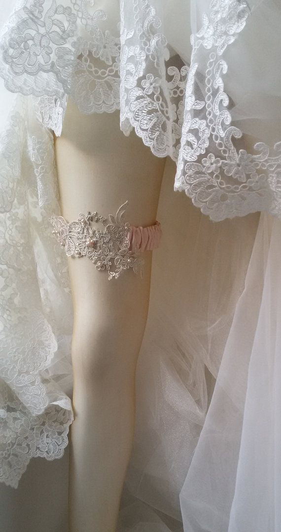 Wedding Garter Wedding leg garter Pink  Ribbon by UniqueCeremony