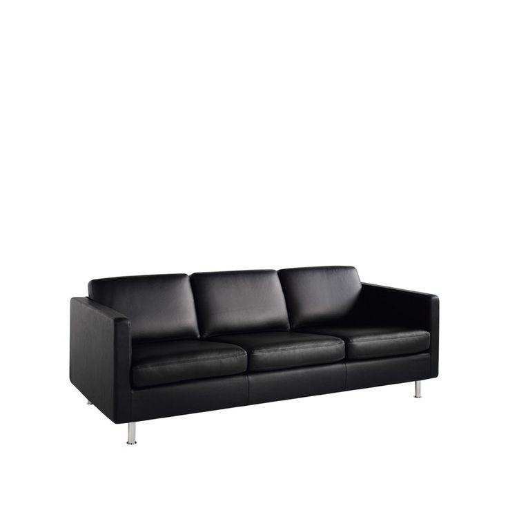 Johan soffa - Johan soffa - 3-sits, svart läder