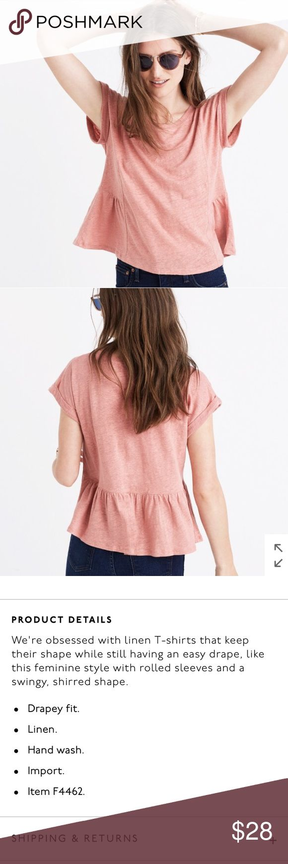 """Madewell Peplum Crop Tee Madewell Modern Linen Gather Top Tee. Accurate color is in the cover photo. Small hole shown in picture.  Length: 19"""" Pit to pit: 16"""" Madewell Tops Blouses"""