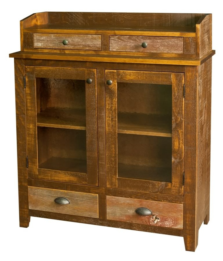 Amish Kitchen Hutch Pantry Barn Wood Country Cupboard Reclaimed Wood  Furniture  eBay